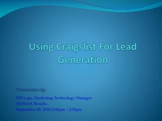 Using Craigslist For Lead Generation