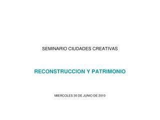 SEMINARIO CIUDADES CREATIVAS