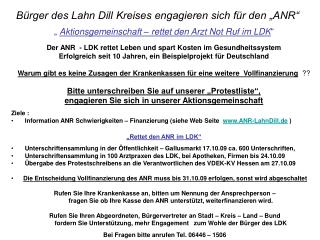 "Bürger des Lahn Dill Kreises engagieren sich für den ""ANR"""