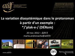 La variation  diasystémique dans le  protoroman à partir d'un exemple:  */' plak‑e‑ / ( DÉRom )