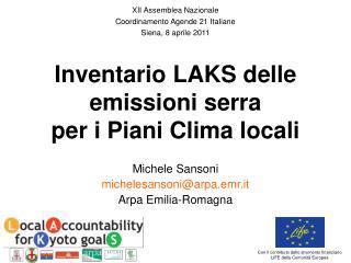 Inventario LAKS delle emissioni serra  per i Piani Clima locali