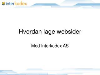 Hvordan lage websider