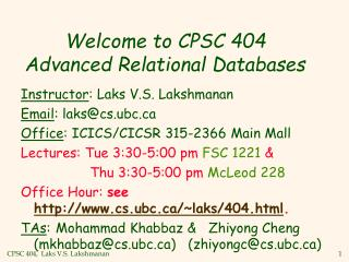 Welcome to CPSC 404  Advanced Relational Databases