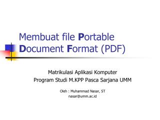 Membuat file  P ortable  D ocument  F ormat (PDF)