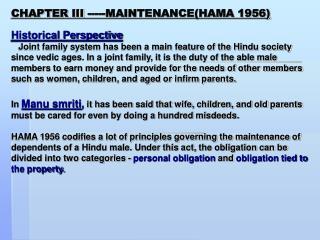 CHAPTER III -----MAINTENANCE(HAMA 1956)