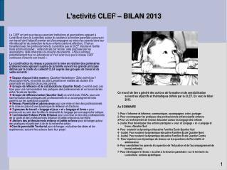 L'activité CLEF – BILAN 2013