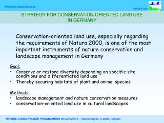 STRATEGY FOR CONSERVATION-ORIENTED LAND USE  IN GERMANY