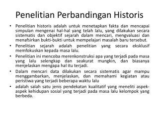 Penelitian  Perbandingan  Historis