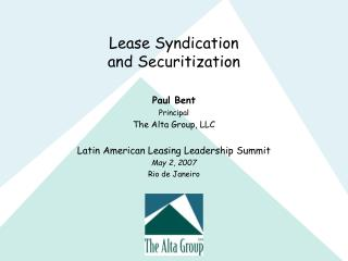 Lease Syndication and Securitization