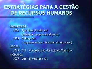 ESTRATÉGIAS PARA A GESTÃO DE RECURSOS HUMANOS
