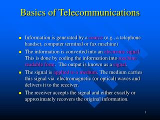 Basics of Telecommunications