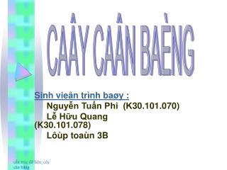 Sinh vieân trình baøy :      Nguyễn Tuấn Phi  (K30.101.070)      Lễ Hữu Quang      (K30.101.078)