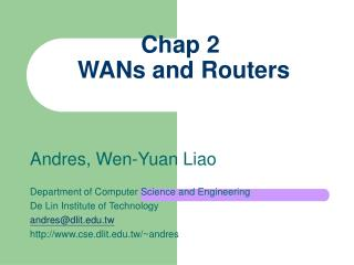 Chap 2  WANs and Routers