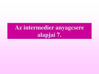 Az intermedier anyagcsere alapjai  7 .