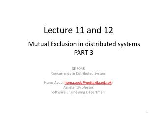 Lecture 11 and 12