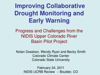 Improving Collaborative  Drought Monitoring and Early Warning