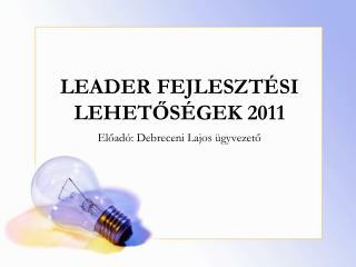 LEADER FEJLESZTÉSI LEHETŐSÉGEK 2011