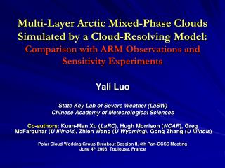 Yali Luo State Key Lab of Severe Weather (LaSW) Chinese Academy of Meteorological Sciences