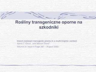 Rośliny transgeniczne oporne na szkodniki