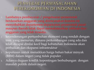 Penyebab Permasalahan Perekonomian di  Indonesia