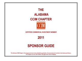 THE  ALABAMA  CCIM CHAPTER CERTIFIED COMMERCIAL INVESTMENT MEMBER 2011 SPONSOR GUIDE