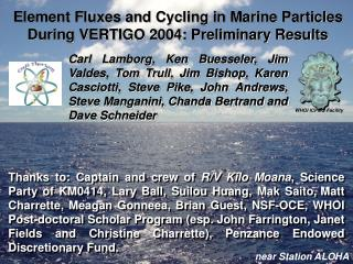 Element Fluxes and Cycling in Marine Particles During VERTIGO 2004: Preliminary Results