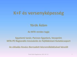 K+F és versenyképesség Török Ádám Az MTA rendes tagja Egyetemi tanár, Pannon Egyetem, Veszprém