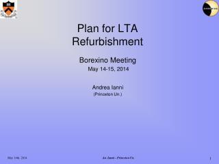 Plan for LTA Refurbishment