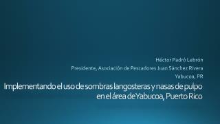 Héctor  Padró  Lebrón Presidente, Asociación de Pescadores Juan Sánchez Rivera Yabucoa , PR