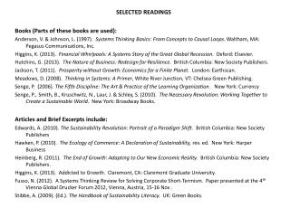 SELECTED READINGS Books (Parts of these books are used):
