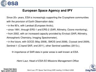 European Space Agency and IPY