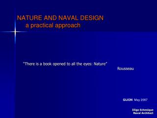 NATURE AND NAVAL DESIGN         a practical approach