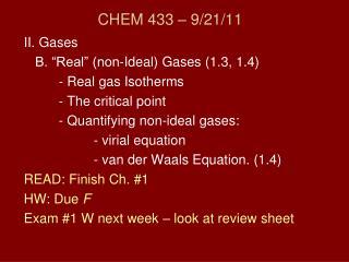CHEM 433 – 9/21/11