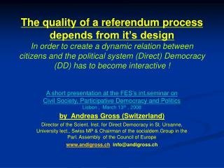 A short presentation at the FES's int.seminar on