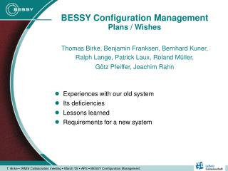 BESSY Configuration Management Plans / Wishes