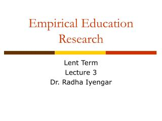 Empirical Education Research