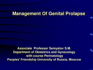Management Of Genital Prolapse