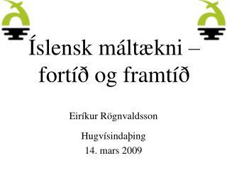 Íslensk máltækni – fortíð og framtíð