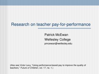 Research on teacher pay-for-performance