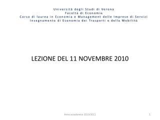 LEZIONE DEL 11 NOVEMBRE 2010