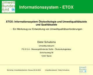 Informationssystem - ETOX