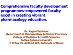Comprehensive faculty development programmes-empowered faculty excel in creating vibrant pharmacology education.