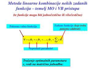 Metoda linearne kombinacije nekih  za danih funkcija  � temelj MO i VB pristupa