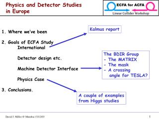 Physics and Detector Studies in Europe