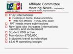 Affiliate Committee Meeting News  - Reported by Margaret Burton, Representative