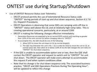 ONTEST use during Startup/Shutdown