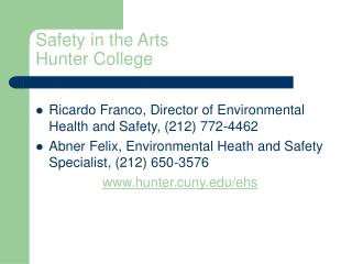 Safety in the Arts Hunter College