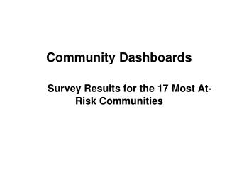 Community Dashboards Survey Results for the 17 Most At-Risk Communities
