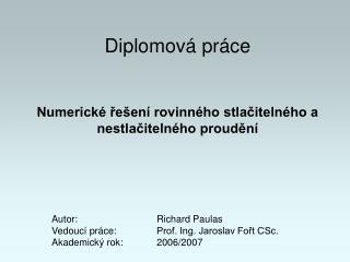 Diplomová práce Numerické řešení rovinného stlačitelného a nestlačitelného proudění