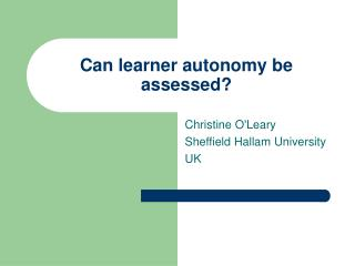 Can learner autonomy be assessed